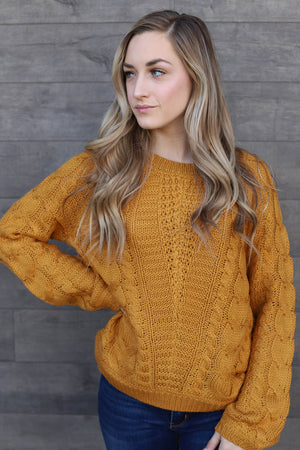 Victoria Sweater: Mustard - ShopSpoiled