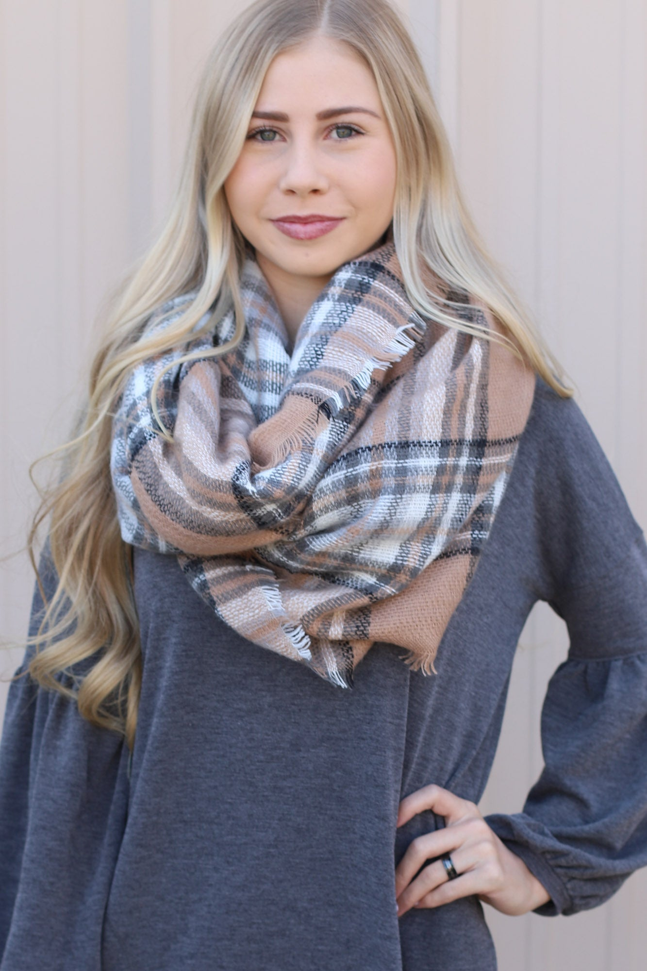 Blanket Scarf: Taupe