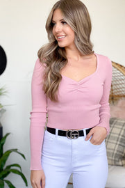 Taylor Long Sleeve Top: Pink - ShopSpoiled