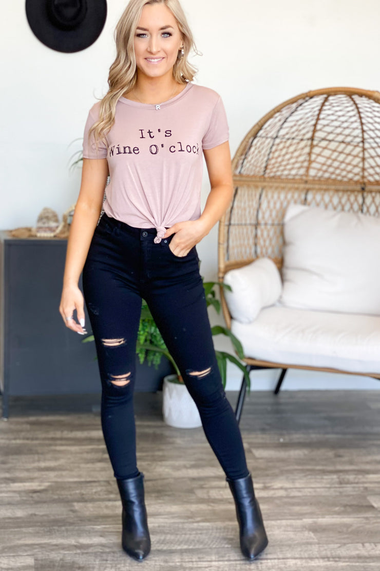 Wine O'clock Graphic Tee: Pink - ShopSpoiled