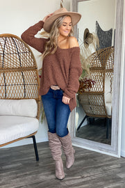 October Stroll Sweater: Brown - ShopSpoiled