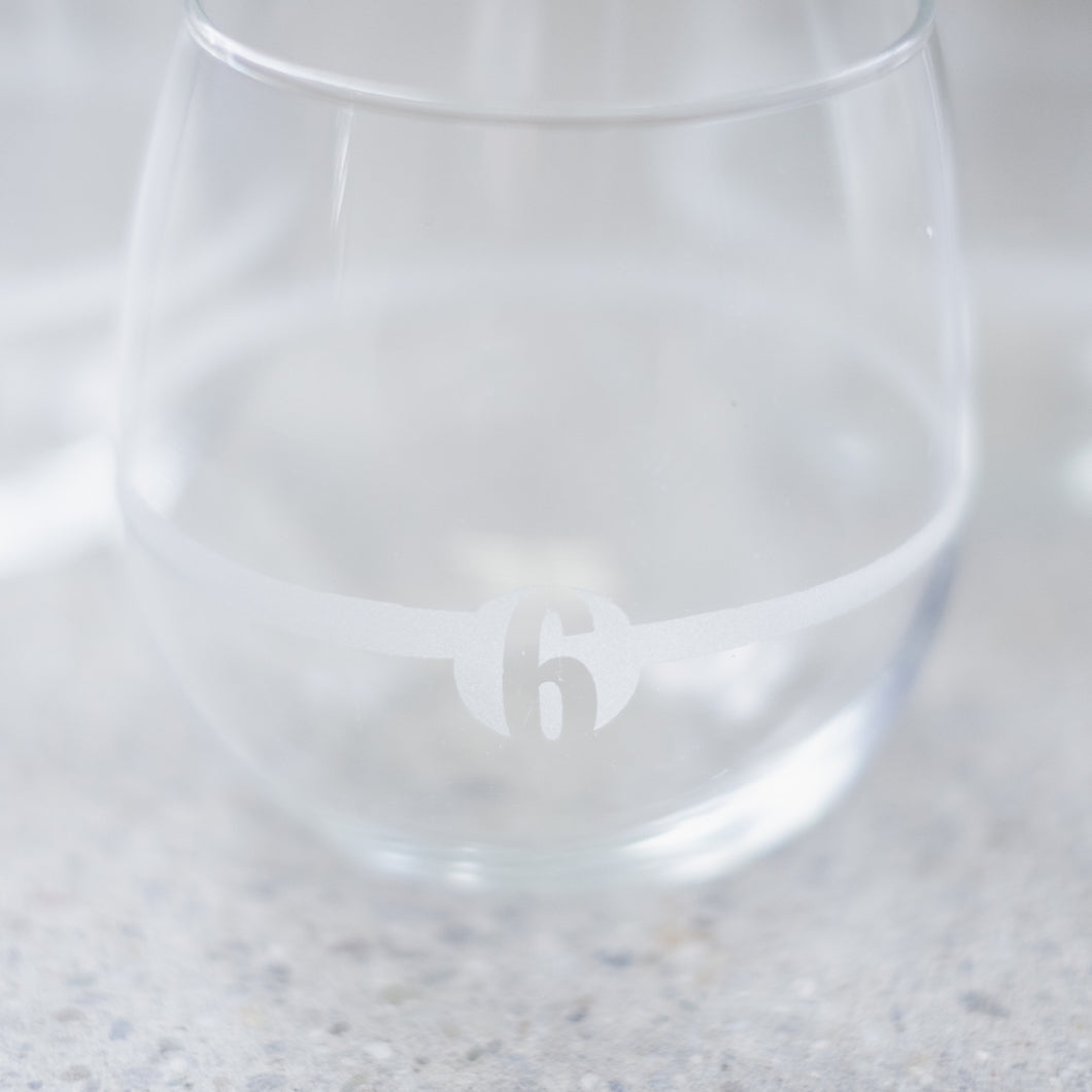 Hand-etched Stemless Wine Glasses (set of 6)