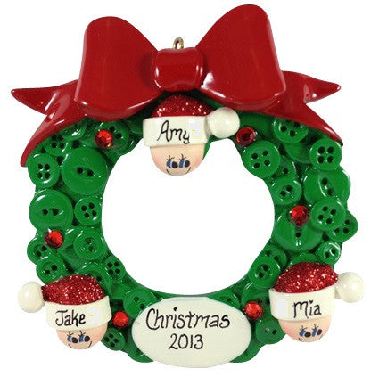 Button Wreath Family of 3 - Made of Resin