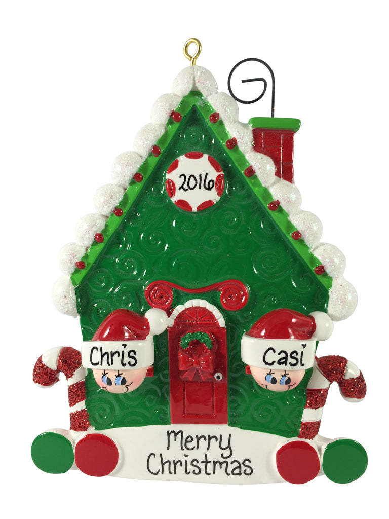 Candy Cane House Family of 2 - Made of Resin