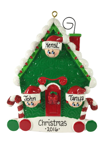 Candy Cane House Family of 3 - Made of Resin