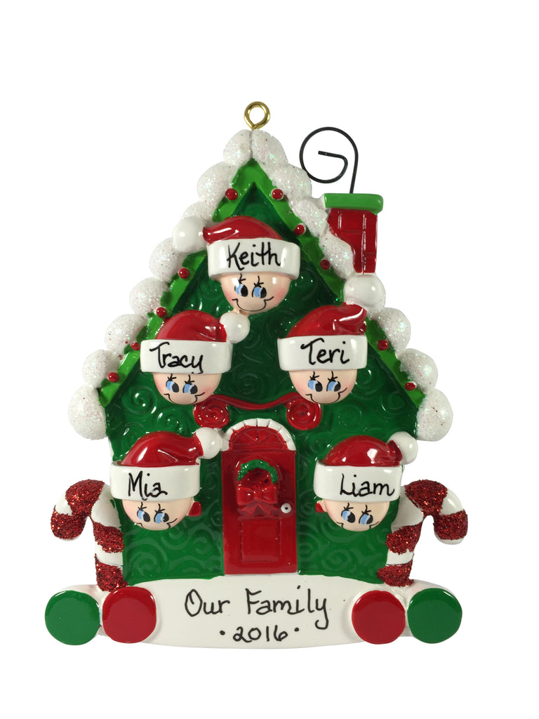 Candy Cane House Family of 5 - Made of Resin