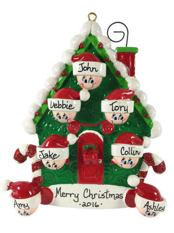Candy Cane House Family of 7 - Made of Resin