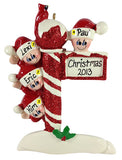 Candy Cane Pole Family of 4 - Made of Resin