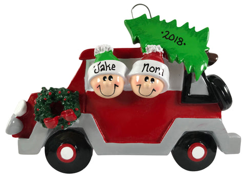 Christmas Tree Caravan Family of 2 - Made of Resin