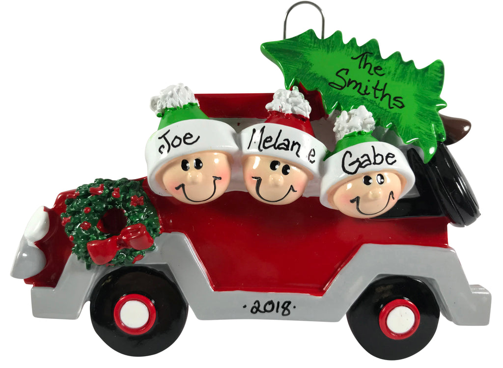 Christmas Tree Caravan Family of 3 - Made of Resin