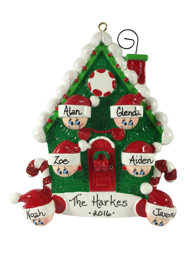 Candy Cane House Family of 6 - Made of Resin