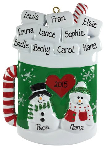 Hot Cocoa Mug Family of 12 - Made of Resin