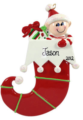 Elf in Stocking - Made of Resin