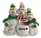 Expecting Snow Family of 3 - Made of Resin