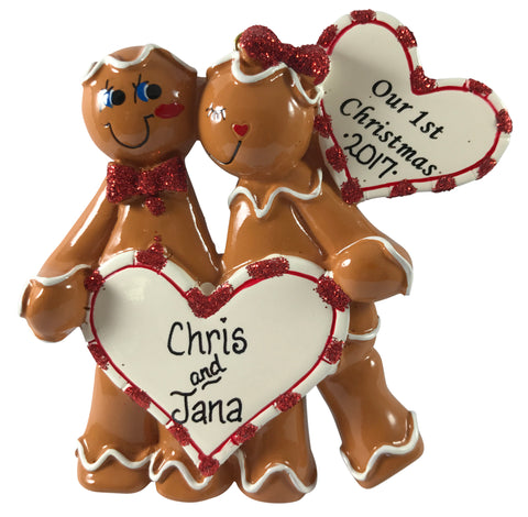 Gingerbread Couple 1st Christmas - Made of Resin