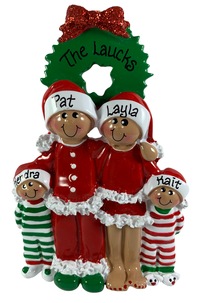 Pajama Family of 4 - Ethnic - Made of Resin
