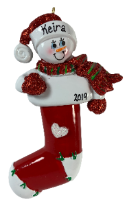 Long Stocking Snowman - Made of Resin