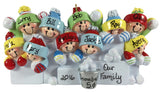 Snowball Fight Family of 10 - Made of Resin
