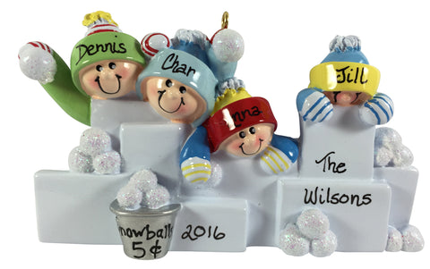 Snowball Fight Family of 4 - Made of Resin