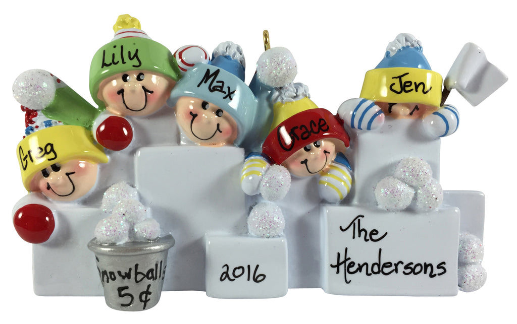Snowball Fight Family of 5 - Made of Resin