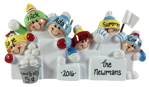 Snowball Fight Family of 6 - Made of Resin