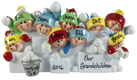 Snowball Fight Family of 9 - Made of Resin