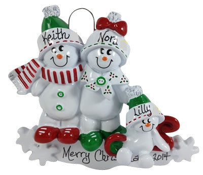 Snowman Family of 3 - Made of Resin