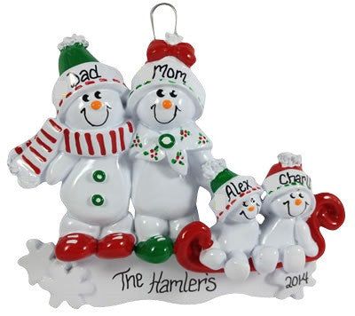 Snowman Family of 4 - Made of Resin