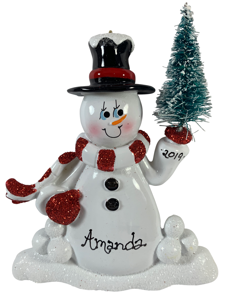 Snowman with Tree - Made of Resin