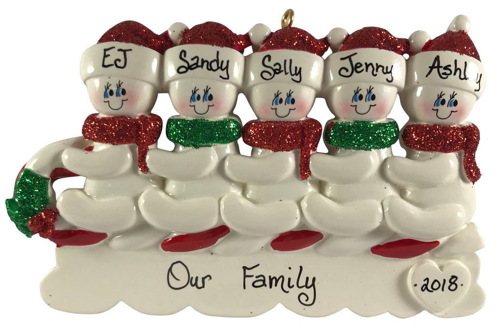 Toboggan Family of 5 - Made of Resin