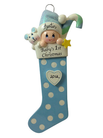 Baby Boy 1st Stocking - Made of Resin