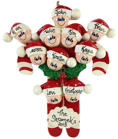 Candy Cane Family of 10 - Made of Resin