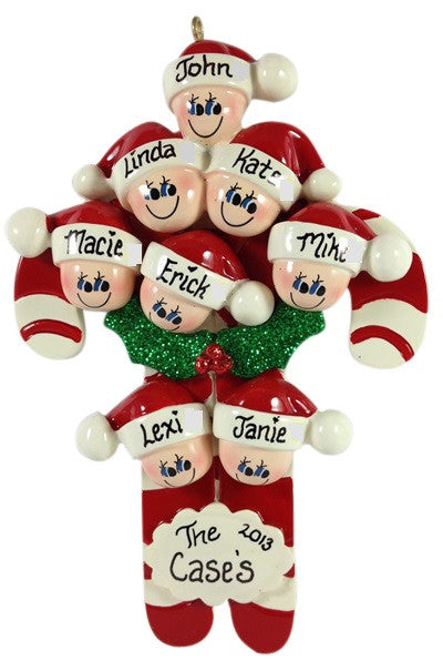 Candy Cane Family of 8 - Made of Resin