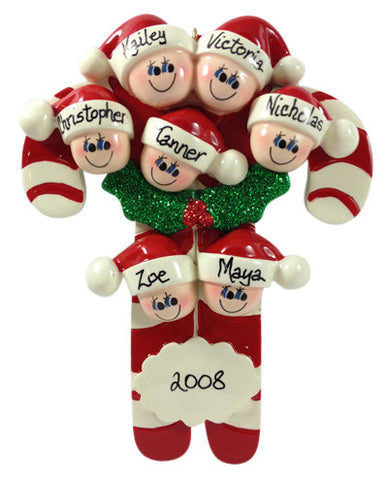 Candy Cane Family of 7 - Made of Resin