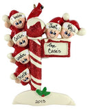 Candy Cane Pole Family of 6 - Made of Resin