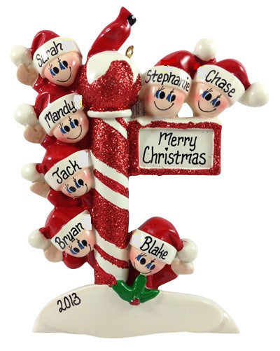 Candy Cane Pole Family of 7 - Made of Resin