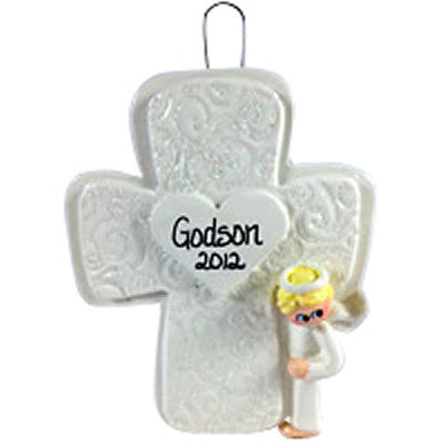 Christening Cross Angel Boy - Made of Resin