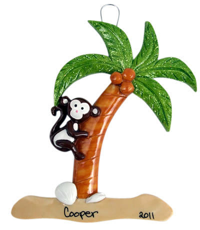Monkey on Palm Tree - Made of Resin