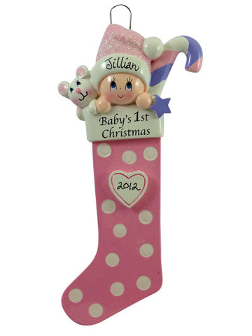 Baby Girl 1st Stocking - Made of Resin