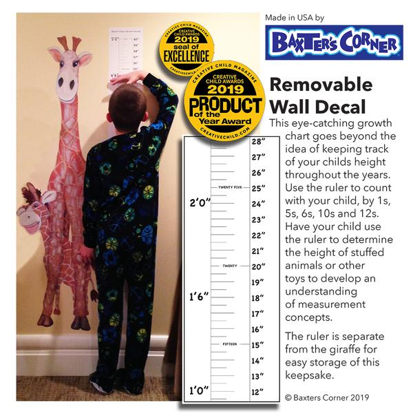 """Gerome Sticks His Neck Out"" Grow Chart Wall Decal Earns Two Creative Child Awards"