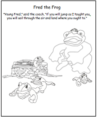 Baxter's Corner Coloring Page - Fred the Frog Coach