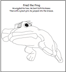 Baxter's Corner Coloring Page - Fred the Frog Jumping