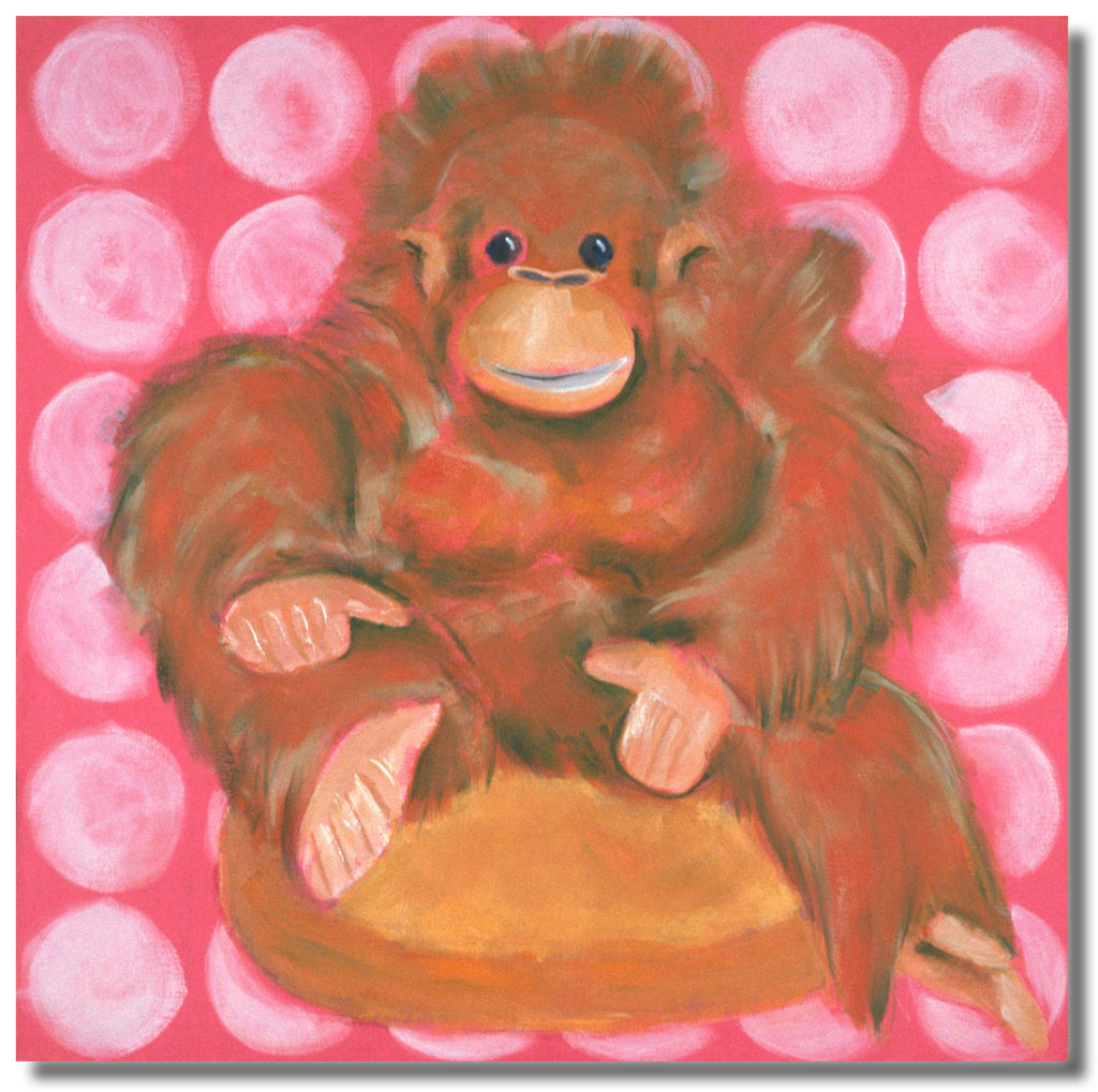 Olivia the Orangutan  18 x 18 Gallery Wrapped Canvas