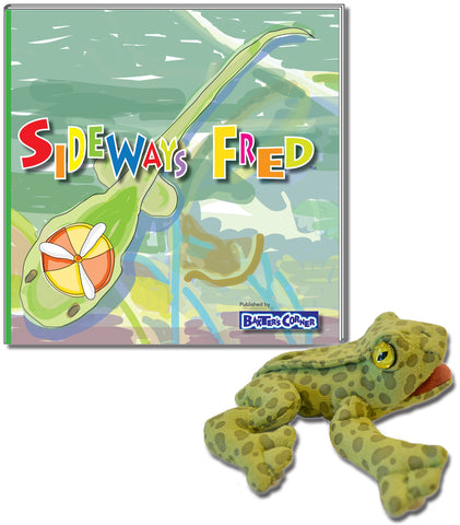 "Fred the Frog ""Sideways Fred"" – Softcover Story of Determination & Folkmanis Finger Puppet"
