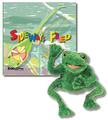 "Fred Gift Set Includes ""Sideways Fred"" Softcover - Story About Determination + Folkmanis Puppet"