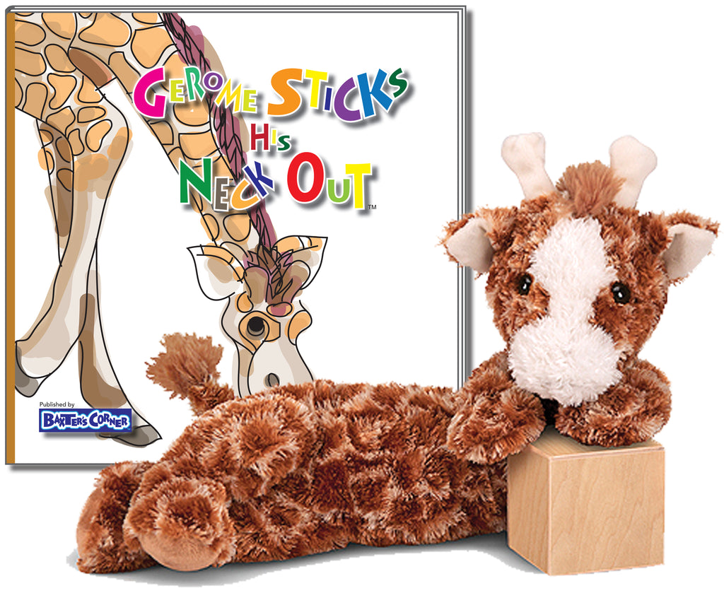 "Gerome the Giraffe - ""Gerome Sticks His Neck Out"" Hard Cover Story Book with Melissa & Doug Longfellow"