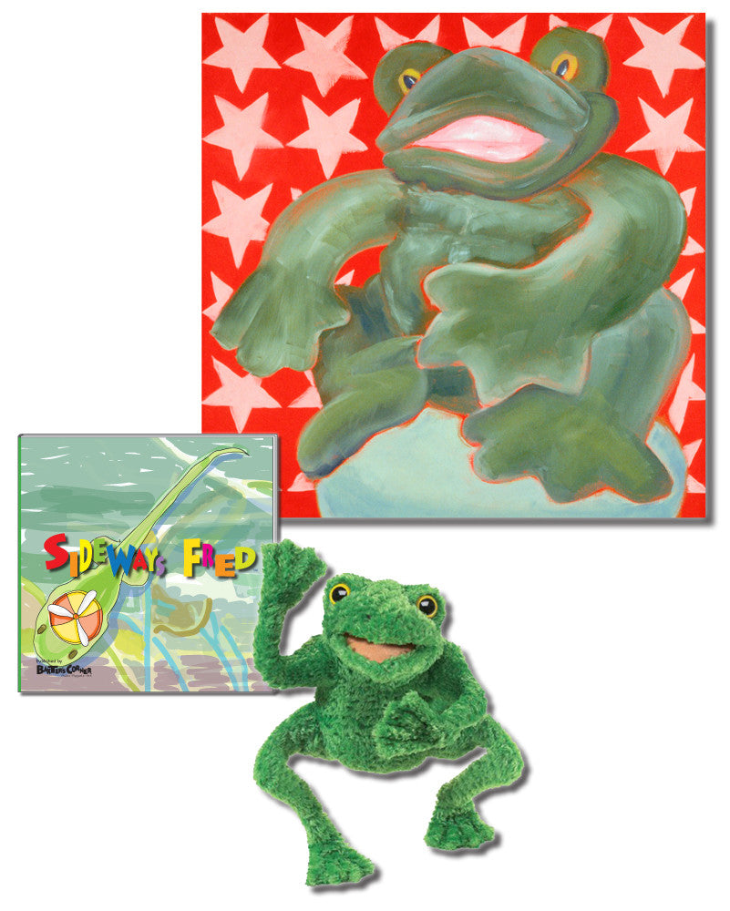 "Fred Gift Set Includes  ""Sideways Fred"" – Story About Determination, Folkmanis Puppet, & 18x18 Canvas"