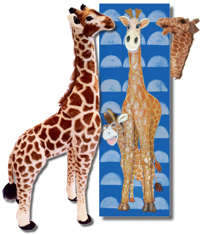 "Gerome the Giraffe - 18 x 54"" Canvas, Melissa & Doug Plush & Folkmanis Puppet"