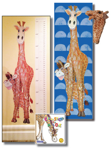 "Gerome Gift Set Includes ""Gerome Sticks His Neck Out"" – Story About Compassion, Folkmanis Puppet, 18x54 Canvas"