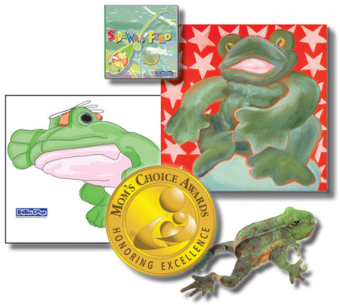 "Fred Gift Set Includes ""Sideways Fred"" – Story About Determination, Folkmanis Puppet, 18x18 Canvas & Wall Decal"